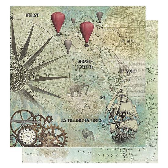 Papel Scrapbook Litoarte 30,5x30,5 SD-1071 Relógio Návio e Balões