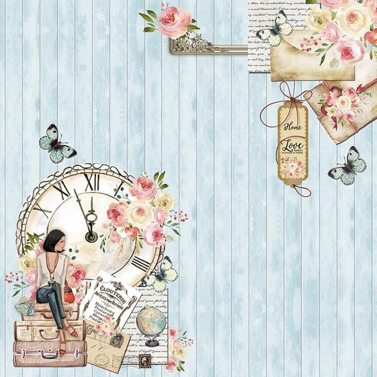 Papel Scrapbook Litoarte 30,5x30,5 SD-1088 Mulher Relógio e Flores