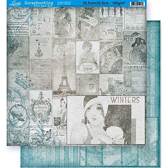 Papel Scrapbook Litoarte 30,5x30,5 SD-311 Filmes e Abstrato Azul