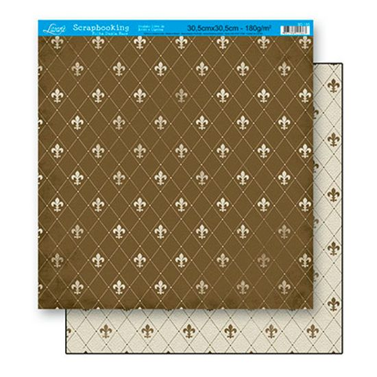 Papel Scrapbook Litoarte 30,5x30,5 SD-155 Flor de Lis