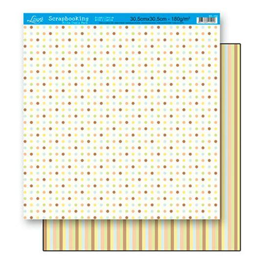 Papel Scrapbook Litoarte 30,5x30,5 SD-159 Poá e Listras Coloridas