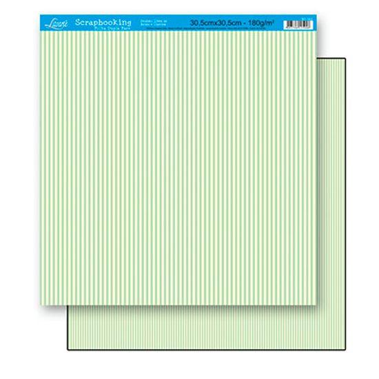Papel Scrapbook Litoarte 30,5x30,5 SD-163 Listras Verde