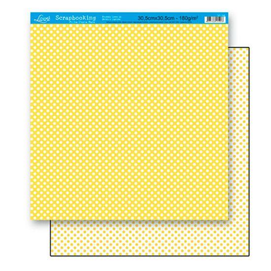 Papel Scrapbook Litoarte 30,5x30,5 SD-168 Poá Amarelo