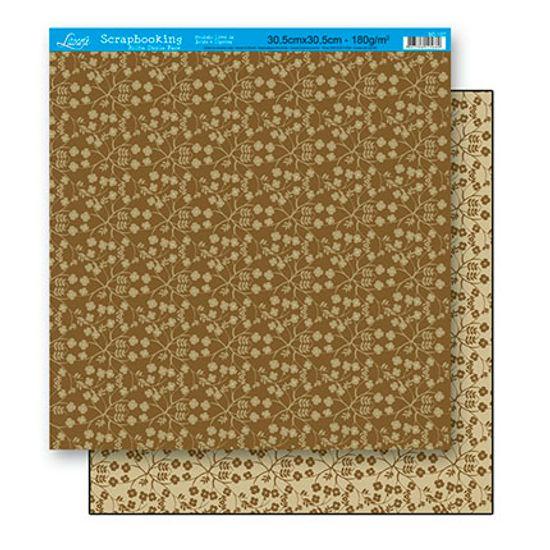 Papel Scrapbook Litoarte 30,5x30,5 SD-137 Estampa Flores Bege