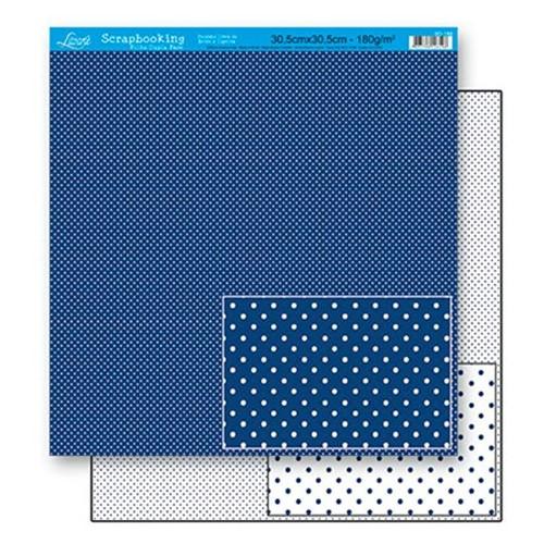 Papel Scrapbook Litoarte 30,5x30,5 SD-188 Poá Azul Escuro