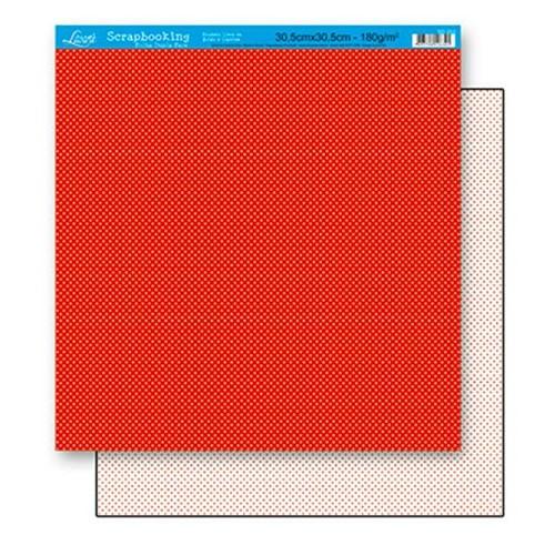 Papel Scrapbook Litoarte 30,5x30,5 SD-191 Poá Vermelho
