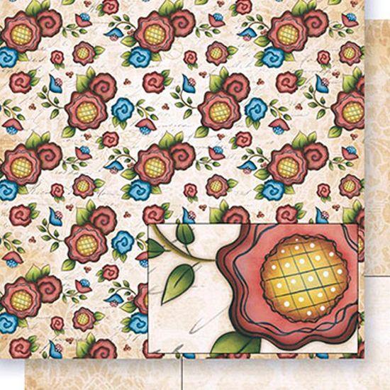 Papel Scrapbook Litoarte 30,5x30,5 SD-404 Flores Folk Vermelho