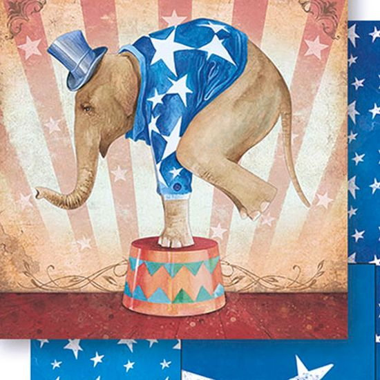 Papel Scrapbook Litoarte 30,5x30,5 SD-442 Elefante Circo Masculino
