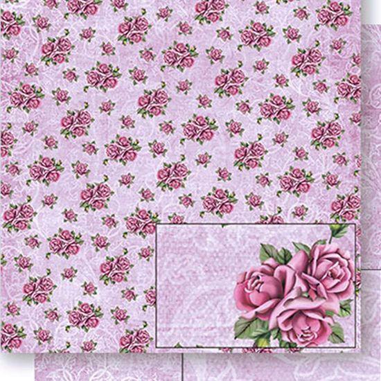 Papel Scrapbook Litoarte 30,5x30,5 SD-434 Rosas e Arabesco Lilás