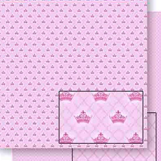 Papel Scrapbook Litoarte 30,5x30,5 SD-449 Coroa e Xadrez Rosa