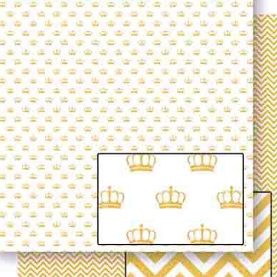 Papel Scrapbook Litoarte 30,5x30,5 SD-453 Coroa e Chevron Dourado
