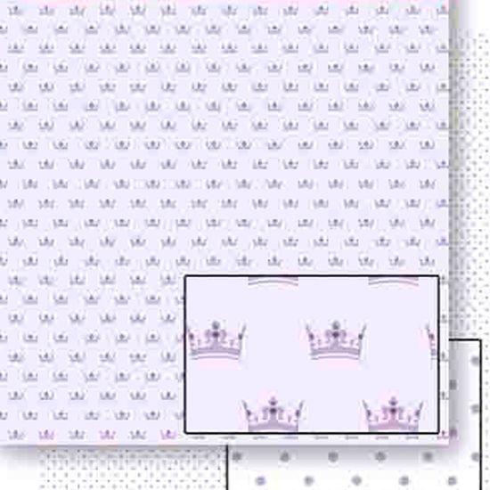 Papel Scrapbook Litoarte 30,5x30,5 SD-451 Coroa e Poá Lilás