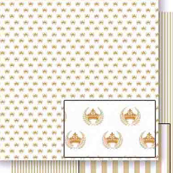 Papel Scrapbook Litoarte 30,5x30,5 SD-455 Coroa Ramos e Listras Dourada