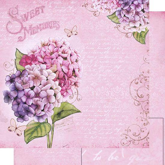 Papel Scrapbook Litoarte 30,5x30,5 SD-480 Hortênsias e Escritas Rosa