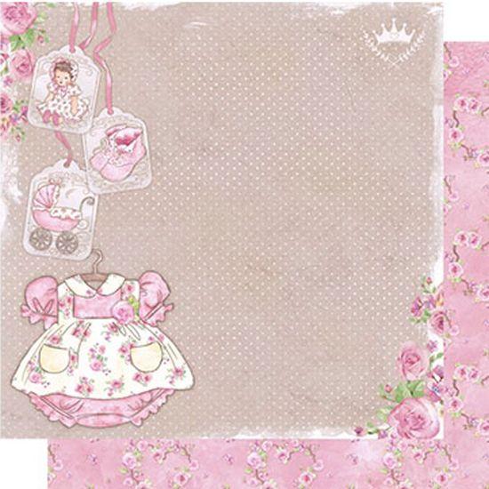 Papel Scrapbook Litoarte 30,5x30,5 SD-490 Roupa Baby Menina Rosas