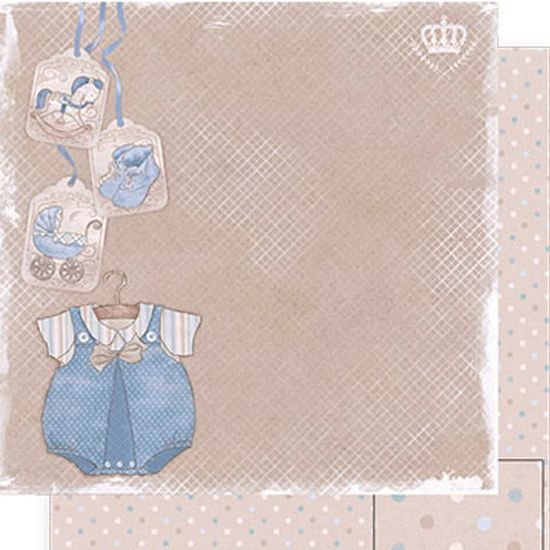 Papel Scrapbook Litoarte 30,5x30,5 SD-495 Roupa Baby Menino e Poá