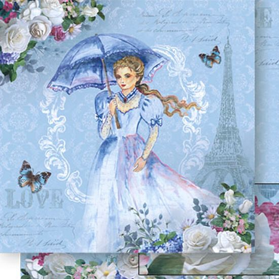 Papel Scrapbook Litoarte 30,5x30,5 SD-514 Mulher com Guarda-Chuva Azul