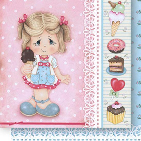 Papel Scrapbook Litoarte 30,5x30,5 SD-519 Menina Sorvete e Flores