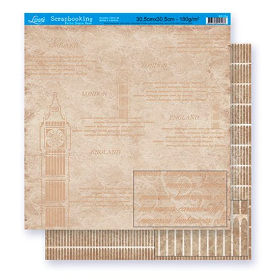 Papel Scrapbook Litoarte 30,5x30,5 SD-254 London England Marrom