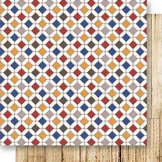 Papel Scrapbook Litoarte 30,5x30,5 SD-525 Ladrilhos Colorido