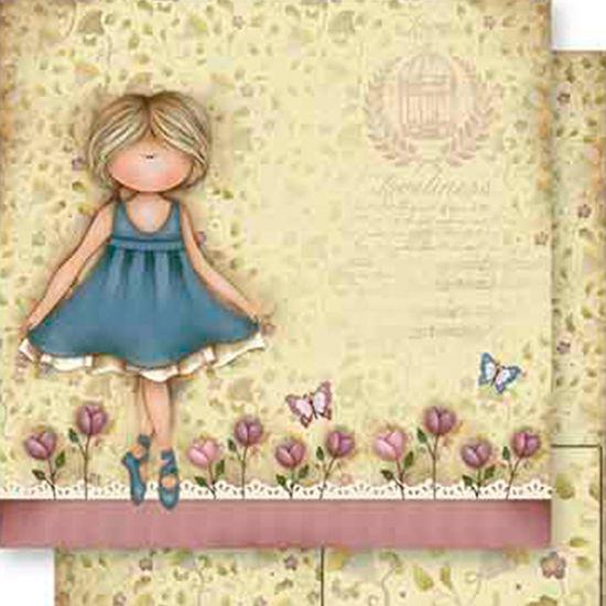 Papel Scrapbook Litoarte 30,5x30,5 SD-554 Menina e Flores Bege