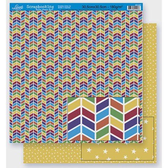 Papel Scrapbook Litoarte 30,5x30,5 SD-257 Abstrato Colorido