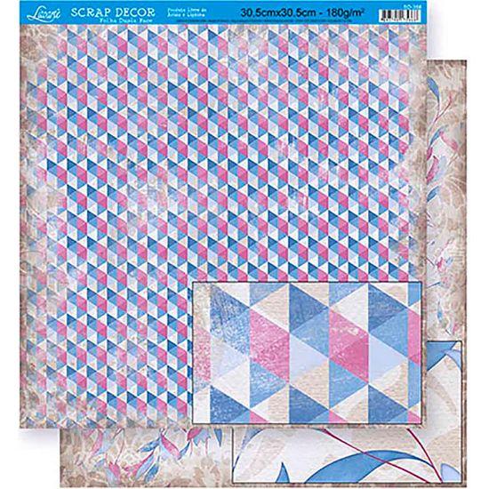 Papel Scrapbook Litoarte 30,5x30,5 SD-358 Abstrato Azul e Vinho
