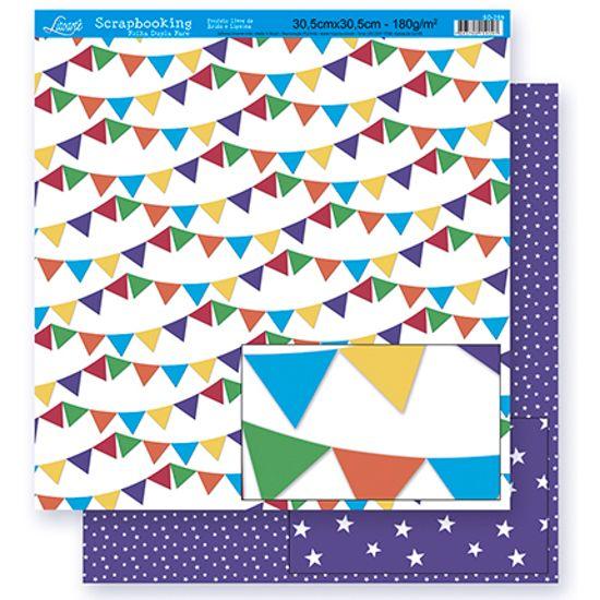Papel Scrapbook Litoarte 30,5x30,5 SD-259 Bandeirinhas Coloridas