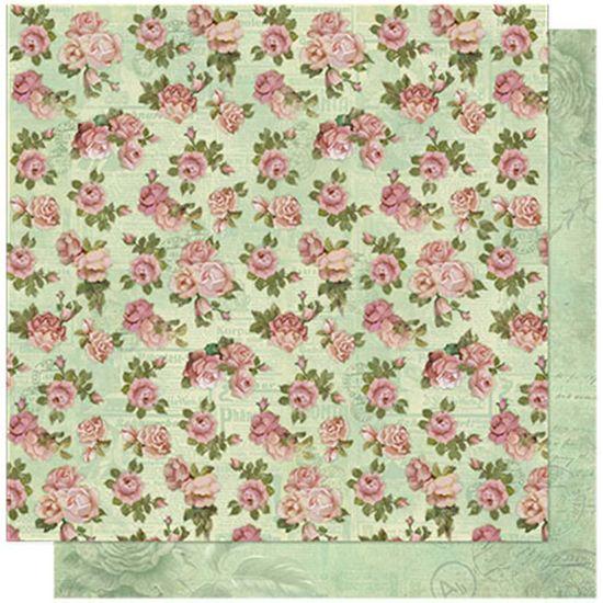 Papel Scrapbook Litoarte 30,5x30,5 SD-597 Estampas Rosas com Jornal Floral