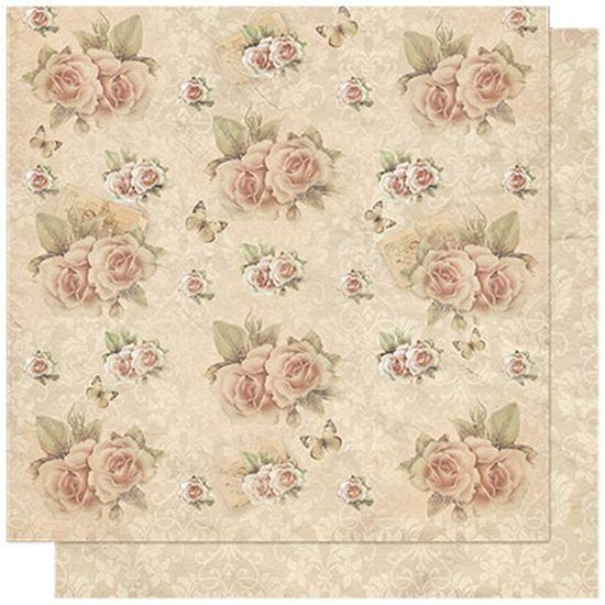 Papel Scrapbook Litoarte 30,5x30,5 SD-599 Rosas e Ornamentos
