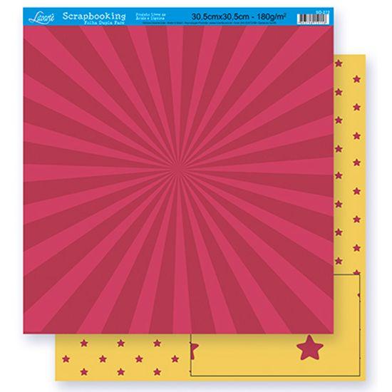 Papel Scrapbook Litoarte 30,5x30,5 SD-264 Abstrato e Estrela Amarelo e Vinho