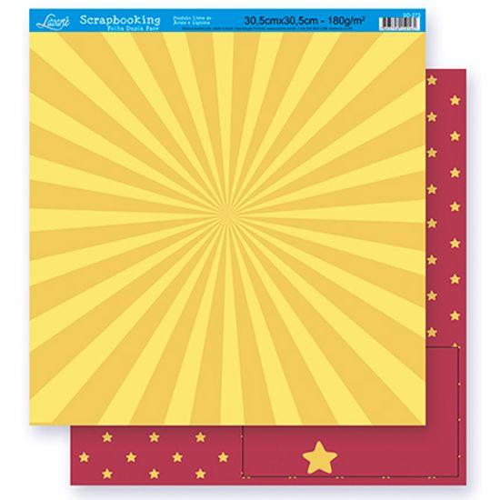 Papel Scrapbook Litoarte 30,5x30,5 SD-265 Abstrato e Estrela Amarelo e Vinho