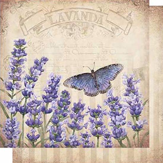 Papel Scrapbook Litoarte 30,5x30,5 SD-626 Lavanda e Borboletas