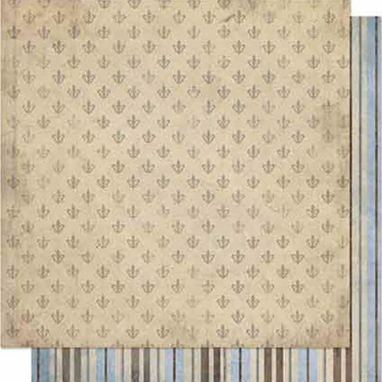 Papel Scrapbook Litoarte 30,5x30,5 SD-669 Flor de Lis e Listras