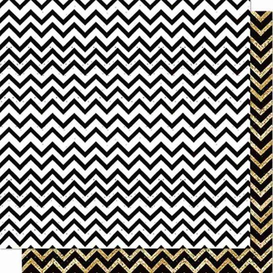 Papel Scrapbook Litoarte 30,5x30,5 SD-712 Chevron Preto, Branco e Dourado