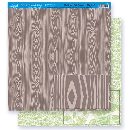 Papel Scrapbook Litoarte 30,5x30,5 SD-274 Madeira e Folhagem Verde