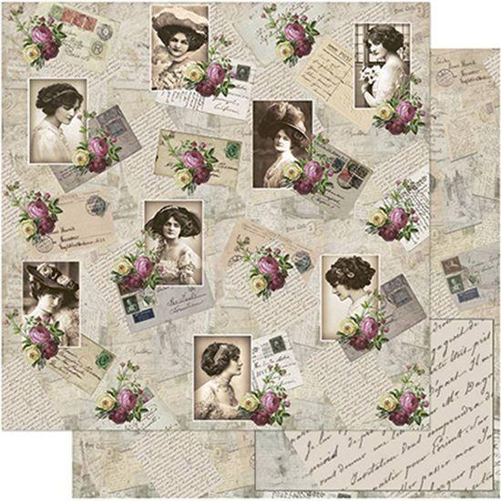 Papel Scrapbook Litoarte 30,5x30,5 SD-755 Fotos com Flores Vintage
