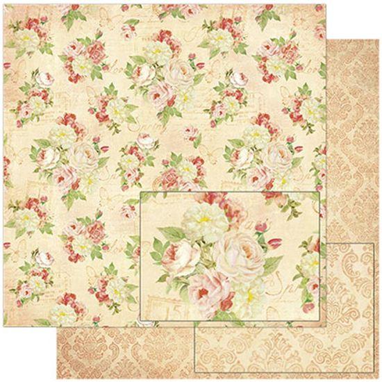 Papel Scrapbook Litoarte 30,5x30,5 SD-778 Padrão Flores Vintage