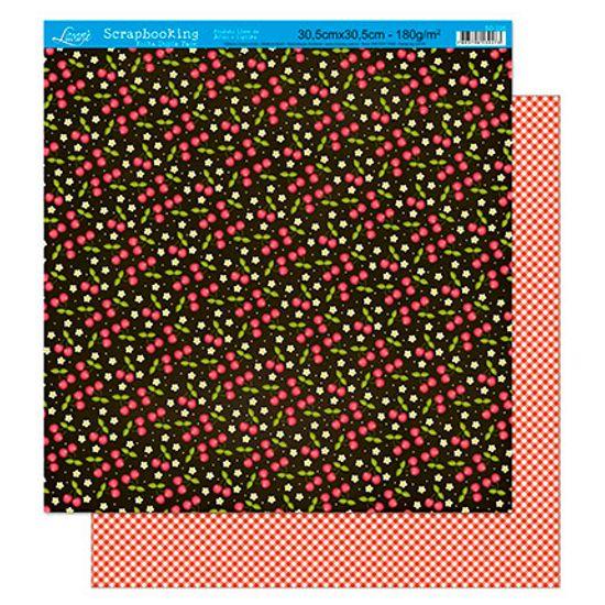 Papel Scrapbook Litoarte 30,5x30,5 SD-228 Cereja e Xadrez Vermelho
