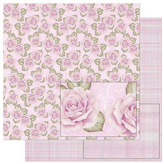 Papel Scrapbook Litoarte 30,5x30,5 SD-802 Estampa Rosas