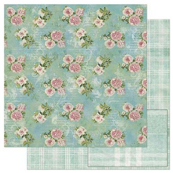 Papel Scrapbook Litoarte 30,5x30,5 SD-800 Estampa Flores Tiffany