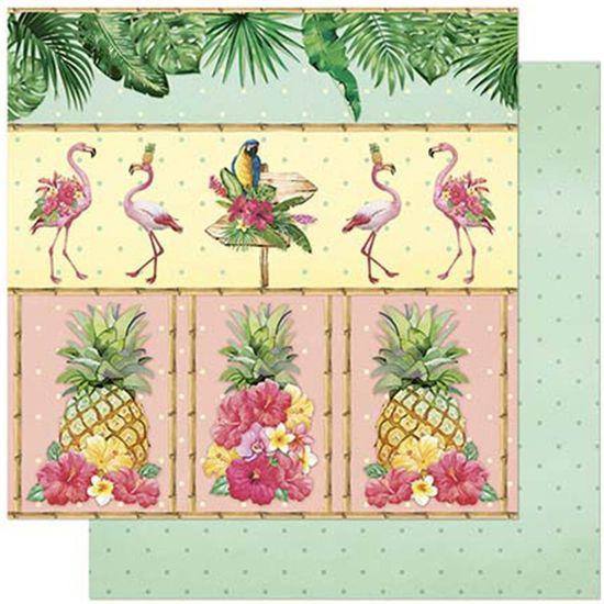 Papel Scrapbook Litoarte 30,5x30,5 SD-805 Tropical com Abacaxi e Flamingo