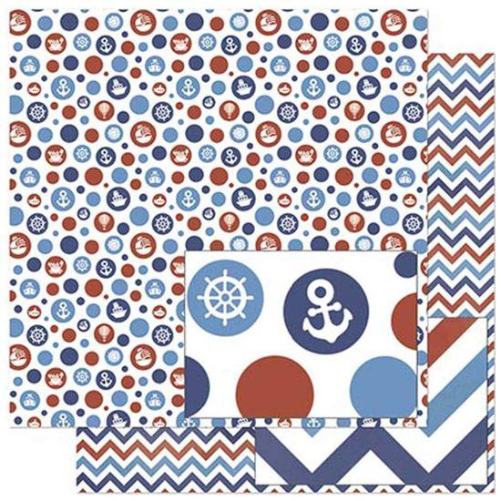 Papel Scrapbook Litoarte 30,5x30,5 SD-831 Poá Vermelho e Azul