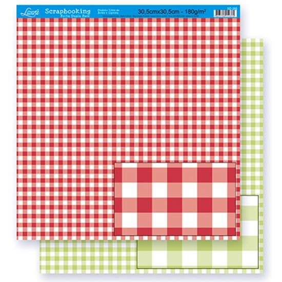 Papel Scrapbook Litoarte 30,5x30,5 SD-285 Xadrez Vermelho e Verde