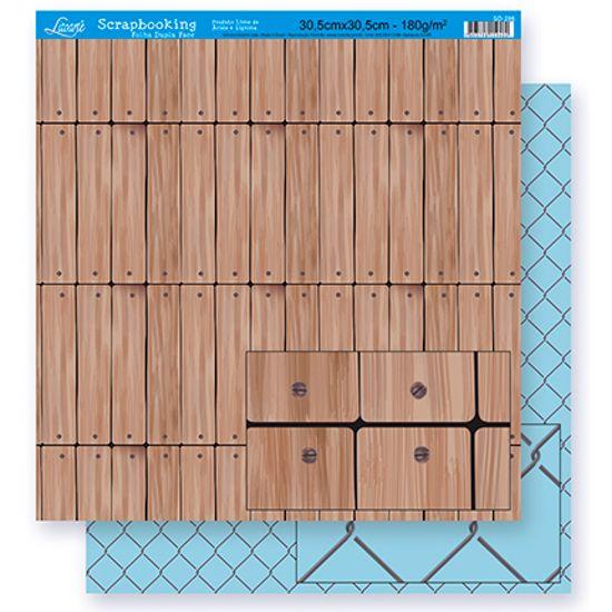 Papel Scrapbook Litoarte 30,5x30,5 SD-288 Madeira e Grade Azul