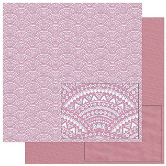 Papel Scrapbook Litoarte 30,5x30,5 SD-892 Tribal Rosa