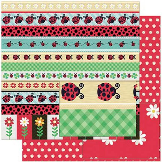 Papel Scrapbook Litoarte 30,5x30,5 SD-932 Barras de Joaninhas e Flores