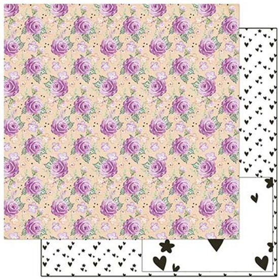 Papel Scrapbook Litoarte 30,5x30,5 SD-907 Planner Rosas e Flores