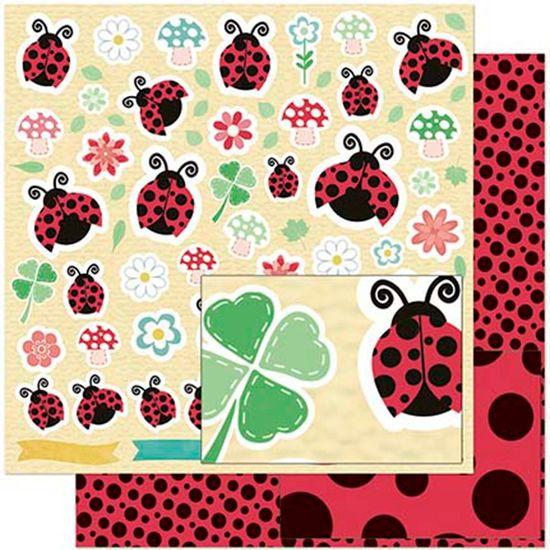 Papel Scrapbook Litoarte 30,5x30,5 SD-931 Joaninhas, Flores e Trevos