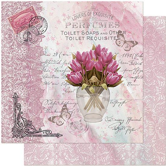 Papel Scrapbook Litoarte 30,5x30,5 SD-949 Flores e Rendas